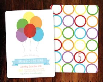 Rainbow Balloons Birthday invitation, double sided - set of 10