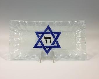Star of David, Fused Glass Tray, Jewish Plate, Judaica