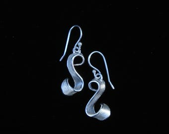 Flair. Petite Ribbon Earrings design, sterling silver dangles with French hooks