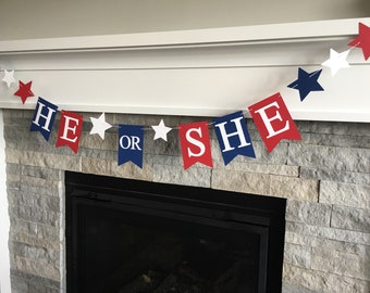 4th of July Gender Reveal Banner- 4th of July Banner- Gender Reveal Banner - Gender Reveal Party - Star Gender Reveal- He or She