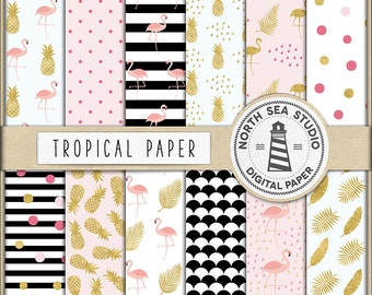 EXOTIC TASTE, Digital Paper, Tropical Backgrounds, Summer Patterns, Flamingo, Pineapple, Summer, Birds, Leaves, Coupon Code: BUY5FOR8