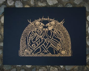 Balor's Banquet ~ Hand pulled screen print, *liquid gold edition*