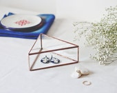 Geometric Jewelry Box, Makeup Storage, Mom Gift, Jewelry Lovers Gift, Earring Box, Girlfriend Gift, Glass Ring Box, Rose Gold Keepsake Box