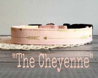 Girl DOG COLLAR, Dog Collars, The Cheyenne, Dog Collar, Dog Collars for Girls, Pink, Gold, Arrows