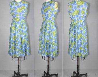 1960s dress / sleeveless / floral / EVENSONG cotton dress
