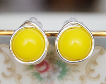 Yellow Studs ,  Bridesmaid Earrings, Bright Yellow Earrings , Wire Wrapped Studs