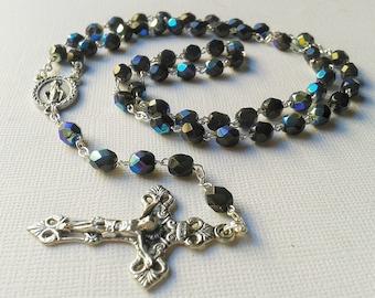 Catholic Rosary, Black Crystal