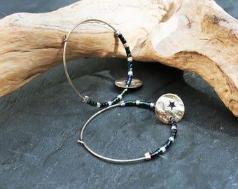 Minimalist silver and blue green hoops, miyuki glass beads and star charm