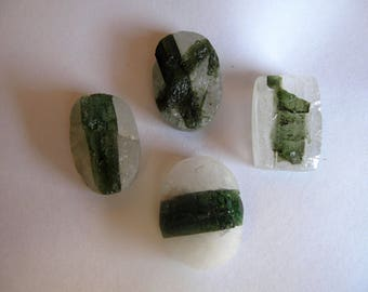 Green Tourmaline in Quartz Natural Surface Cabochon
