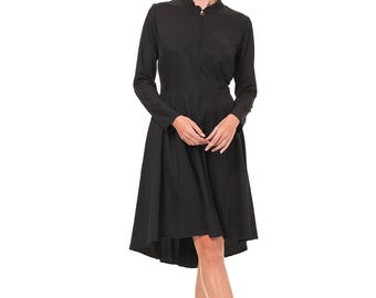 Circle dress, Fitted dress, Autumn Dress, Black fitted dress, Knee length dress, Zipper dress, Collar dress, Dress with sleeves