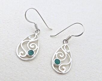Emerald Drop Earring, Silver Spiral Earrings, Green Stone Earring, Birthstone Earrings, Artisan Jewelry, Handmade Jewelry, Gifts For Mom
