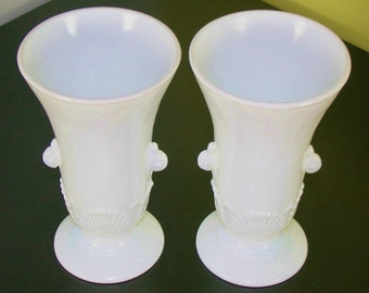 Pair of Vitrock fluted milk glass ornate vases