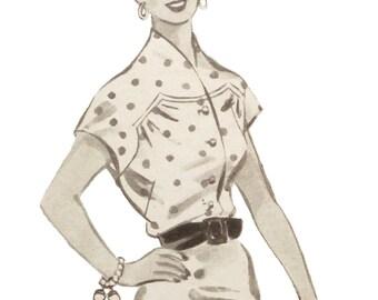 "Vintage 1954 blouse pattern for bust size 108cm/42.5"""