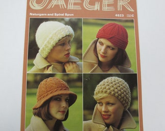 Vintage Jaeger hats knitting pattern. Four different designs. 1980s