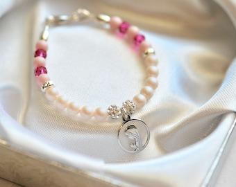 Christening Baptism bracelet, Baby Christening Baptism gift, Baby girl bracelet, Our Lady baby bracelet, silver baby bracelet with Swarovski