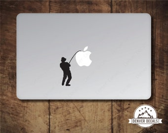 Fisherman catching the Apple Macbook Sticker Mac Decal 13 15 Fishermen, catching fish, fishing