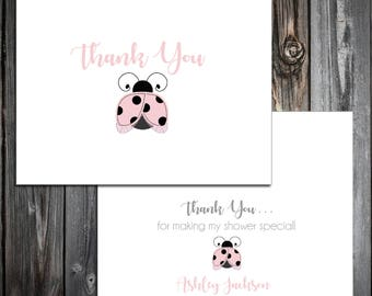 25 Pink Ladybug Baby Shower Thank You Notes. Price includes printing.