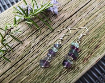 Fluorite Earrings, Gemstone Jewellery, Purple Fluorite, Gemstone Chips, Silver Earrings, Green Fluorite, Crystal Earrings, Hook Earrings