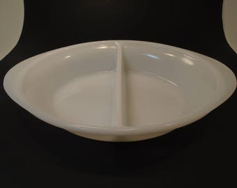 GlasBake White Divided Dish Glassbake Casserole Bowl J-239 10