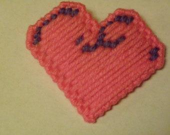Plastic Canvas Pink Heart Pin/Brooch  #99