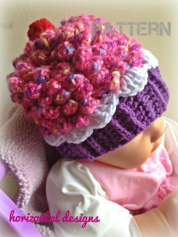Items similar to Instant Download - Cupcake Hat PATTERN, Crochet ...