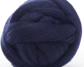 Merino Wool Top - 22.5 micron -Midnight Blue - 4 ounces