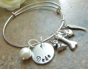 Dog memorial bracelet Pet memorial jewelry Personalized Pet Memorial Bracelet Bone Expandable Hand stamped Jewelry