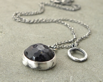 Oxidized sterling silver and sapphire necklace