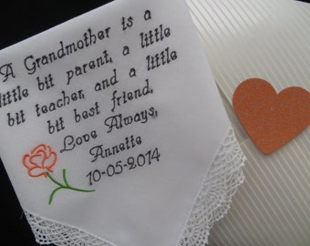 Grandmother's Handkerchief. Wedding handkerchief Gift. Let us embroidery up to 30 words on this hanky to make a very special wedding gift.