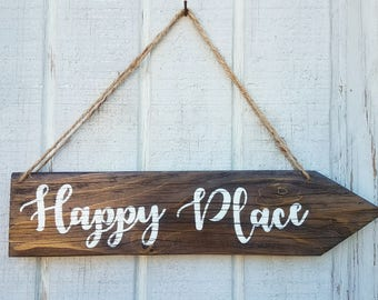 Arrow Reclaimed Wood Sign | Happy Place Sign | Direction Wood Sign | Rustic Home Decor | Wedding Directional |Custom Handpainted Saying Sign