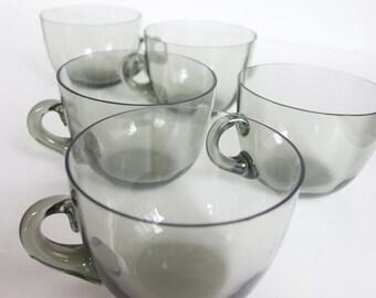 Mid-Century Modern Smoked Glass Teacups. Set of Five. Delicate. Elegant. Cups. Glassware. Mug. Coffee Cup. Japan. Studio Glass. Art Glass.