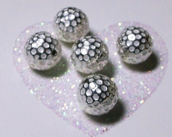 One (1) 925 Sterling Silver Shiny 10.8mm Round Dimpled Bead