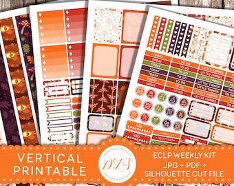 Printable Fall Stickers Kit fits EC planners, Weekly Planner Stickers Kit,  Autumn Planner Stickers, Fall Planner Stickers, Digital, VS114