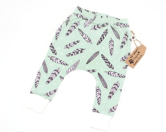 Organic Harem Pants: Baby Harem Leggings, Toddler Harems, Organic Baby Leggings, Hipster Baby, Feather Harems, Drop Crotch, Mint Leggings
