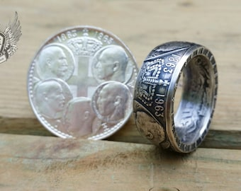 1963 30 Drachmai , 100th Anniversary of the Five Greek Kings,  Silver Coin Ring,