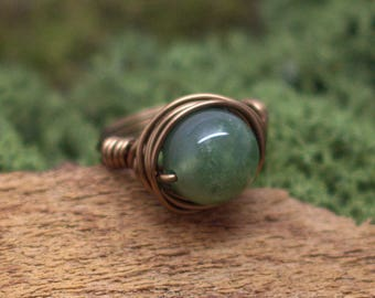 Agate Moss Bronze ring to your size Wire Wrapping