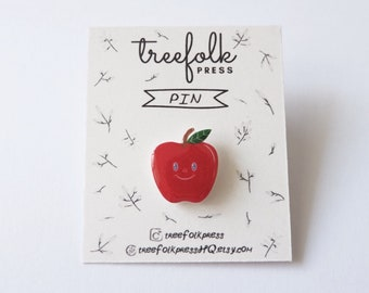 Apple Fruit Pin - Illustrated Pin - Handmade Pin - Wearable Art - Made to Order