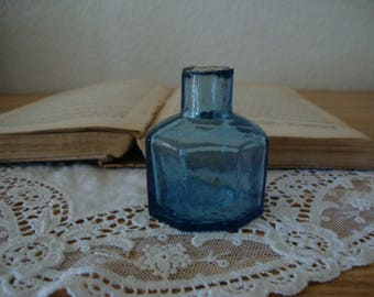 Scarce Antique 1890's English LIGHT BLUE Cobalt 8 Sided glass INK Bottle - Octagonal- Shear Top - Victorian Inkwell - Calligraphy