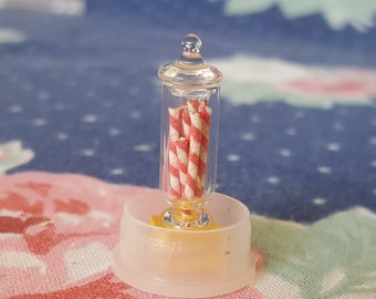 Miniature Dollhouse Glass Apothecary Jar with Peppermint Candy Candies Sweets 1:12 Scale FS