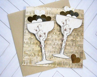 Champagne Toast Greeting Card, Celebration Card, Weddings, Anniversary, Engagements, couples card, dimensional, Champagne glasses, hearts