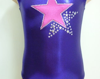 Gymnastics Leotard - Dance Leotard with Large Star and Bling - 7 Color Combinations - Sizes: 2T, 3T, Girls 4 - 16
