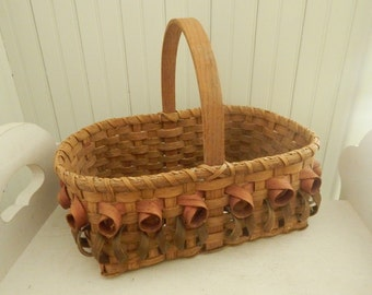Hand Crafted Splint Handled Wicker Gathering Basket with Looped Design - Signed by the Fiber Artist 'Pamela' and Dated 1991 - Country Decor
