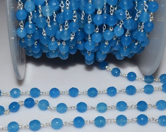 Beautiful Blue Round Chalcedony Rosary Beaded Chain-Chalcedony(Jade) Faceted Round Wire Wrapped Chain , 6 mm - RB5187