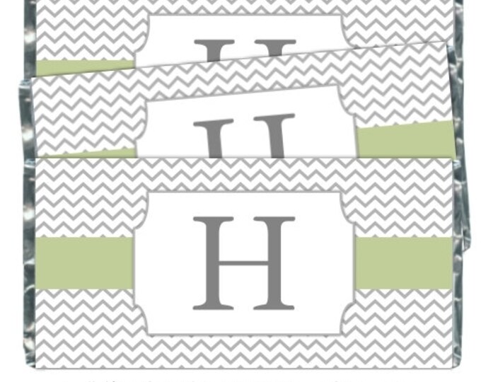 Printable Candy Wrappers, Chevron Monogram Custom Candy wrappers, Wedding Candy Wrappers - fit over chocolate bars - CUSTOM design for you