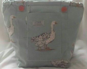 Gorgeous Geese cover this Handmade, Vegan Shoulder Bag.