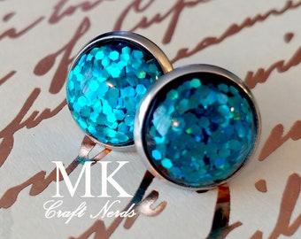 Blue Glitter Post Earrings