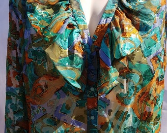 Vintage burnt-out floral ruffled chiffon blouse from 80s in shades of teal and brown by Renoma of Australia