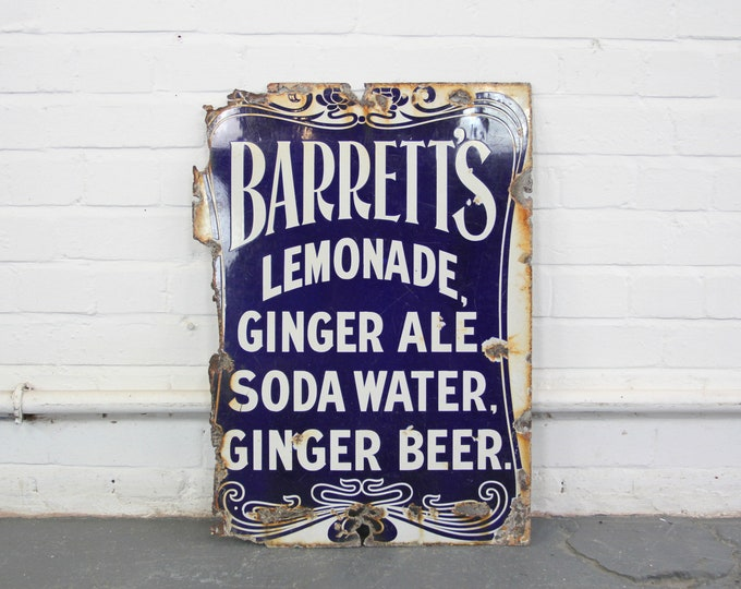Art Nouveau Barretts Lemonade Sign Circa 1900