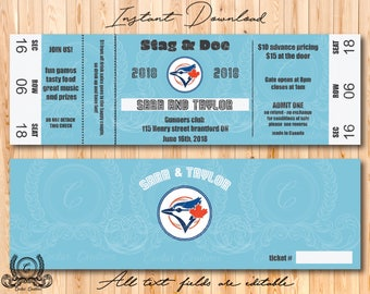 Stag and Doe baseball ticket , Stag and Doe Ticket, Buck and Doe Ticket, Jack and Jill Ticket