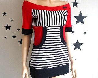 Red and Stripes • Kangaroo Pocket • Off Shoulder • Top • Shirt • Custom Sizes • Small / Medium / Large / XL